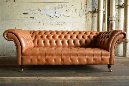 Wood Chesterfield Sofa Genuine Leather 3 Chesterfield Sofa