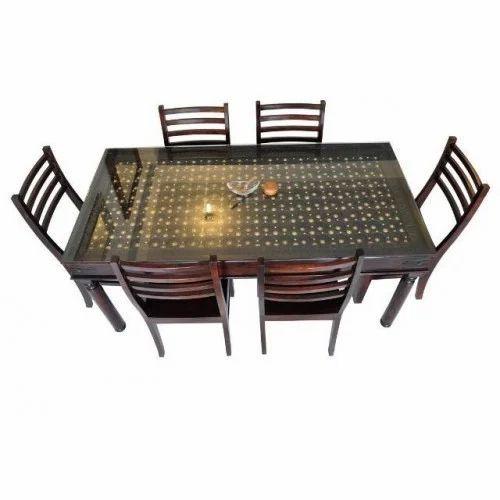 Sheesham Wood Brass Raj Dining Set
