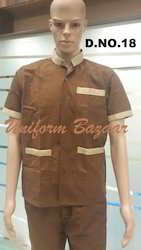 Brown With Broad Piping Restaurant Uniform