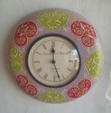 Round Painted Wooden Wall Clock