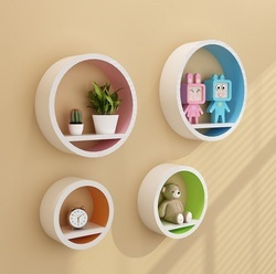 Wooden Colorful Circle Set Of 4 Wall Shelves