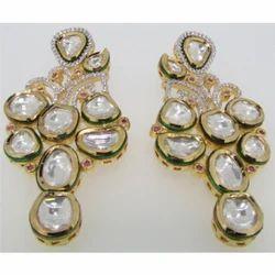 Sterling Silver Kundan Earrings