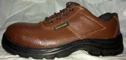 棕色皮革安全鞋