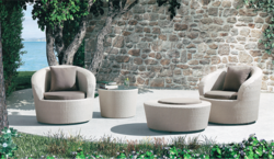 Round Sofa Style Outdoor Wicker Coffee Set
