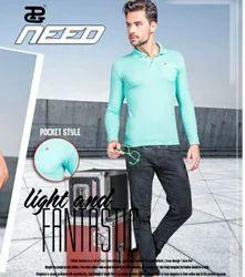 Full Sleeves Plain Cotton Polo T Shirt
