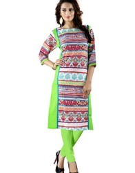 Ladies Green Printed Cotton Kurti