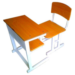 Single Table With Chair In Light Teak Shade