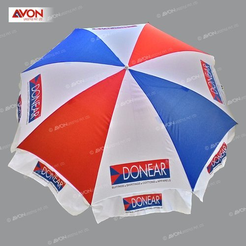 White,Red And Blue Polyester Outdoor Garden Umbrella, Size: 42