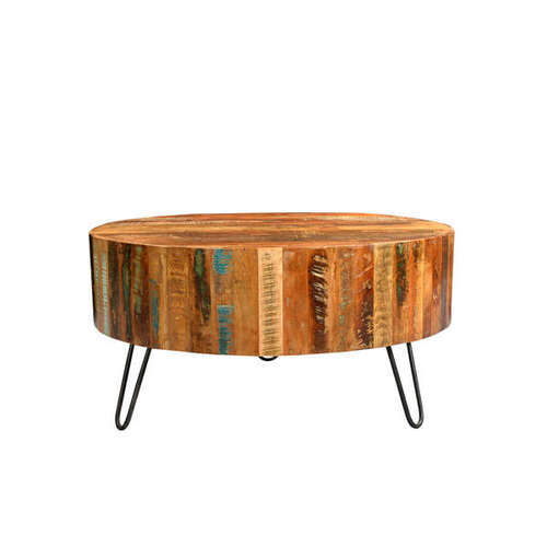 Kd Craft Export Reclaimed Wood Industrial Round Coffee Table For