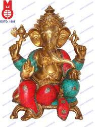 Lord Ganesh Sitting 2 Legs Base & Stone Work Statue