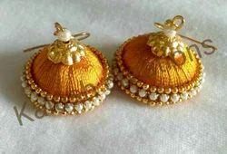 Kalash Silk Thread Earrings, Shape: Round