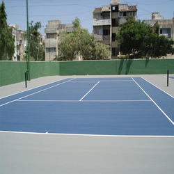 Asian Flooring Blue And Grey Synthetic Tennis Court Flooring