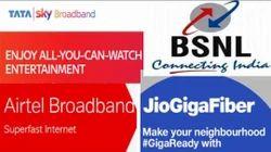 BSNL Jio Airtel Opti Fibre Hi Wifi Speed Broadband100 Mbps
