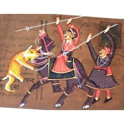 Painting On Postcard of Warriors