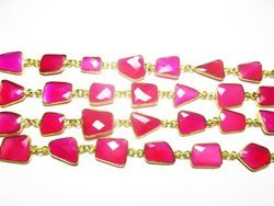 Hot Pink Chalcedony Irregular Shape Bezel Connector Chain