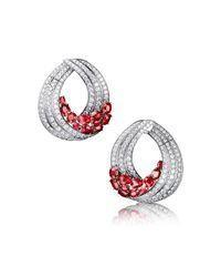 Diamond and Ruby Designer Earrings in 18K Gold