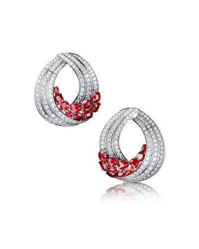 Sheetal Diamonds Designer Ruby Earrings In 18k Gold