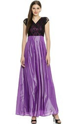 Blue And Black Party Wear Lavender Silk Gown