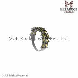 Handmade Citrine Gemstone Silver Baguettes Ring