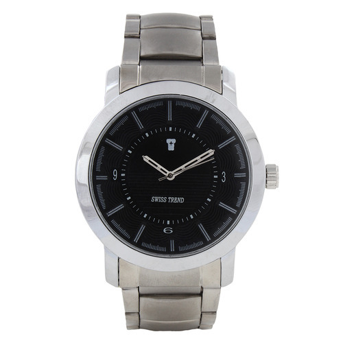 Swiss Trend Mens Metallic Watch with Black Dial and Chain