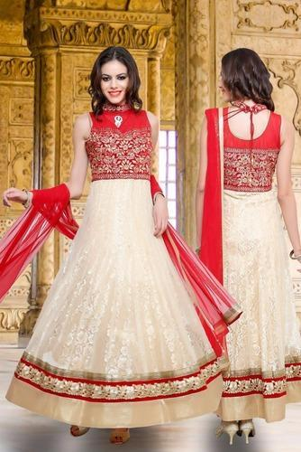 645e734612 Silk Party Wear Off White And Red Anarkali Suit, Rs 3690 /piece | ID ...