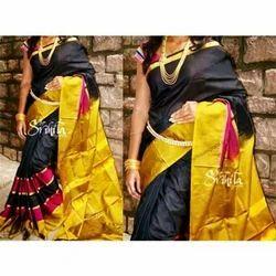 Kancheepuram Uppada Silk Sarees, Length: 6.3 m with Blouse Piece