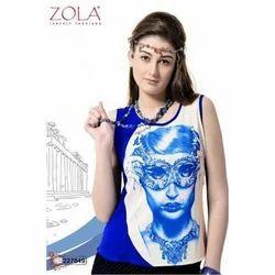 Zola Round Neck Ladies Printed Tops