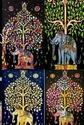 Multi Colour Elephant Print Tapestry