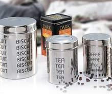 stainless steel canister canister w etching