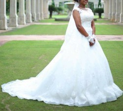 White And Ivory Lace And Net Bridal Gown