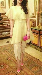 Light Yellow Dress Poncho Top And Tulip Pant