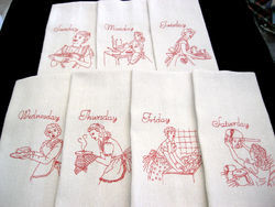 White, Red Embroidered Kitchen Towel