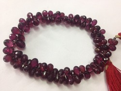 Rhodolite Garnet Faceted Teardrop Briolettes Beads Strands