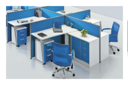 Blue and White Wood Modular Workstation