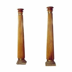 Satinwood Pair of South Indian Fluted Pillars