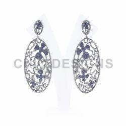 Diamond Sapphire Oval Earrings