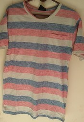 Stripes and Plain Men Round Neck T Shirt Strip, Size: Large and Medium