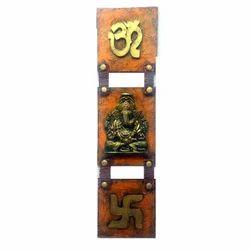Wooden Ganesh Vertical Mural