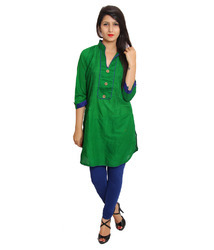 Designer Green Cotton Kurti