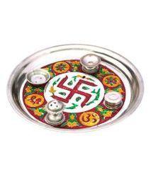Golden Round Handicraft Meenakari Pooja Thali, Size: 10 inch