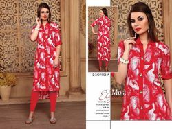 Red Color Printed Cotton Kurti