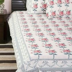Cotton Block Printed Flower Print Bed Sheets