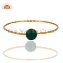 925 Silver Gold Plated Gemstone Bangle
