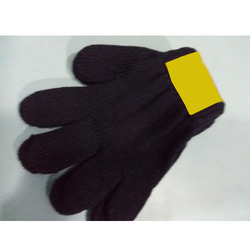 Black Cotton Knitted Gloves For Kids