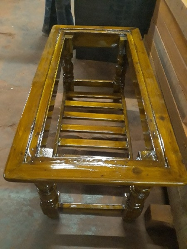 Wooden Tea Table With Glass Top