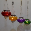 Glass Metal Fitting T Light Hanging