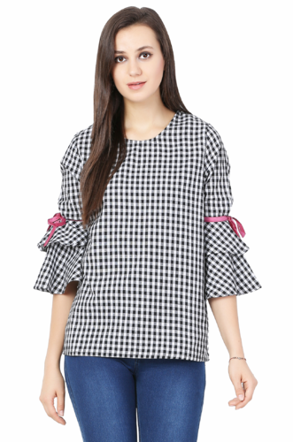 95b41881800be Black And White Ladies Tops In Cotton Fabric
