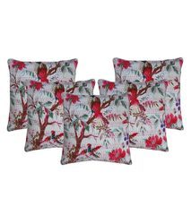 Bird of Paradise White Cushion Cover Set of 5Pcs