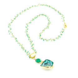 Green Onyx Chain with Agate Geode Pendant Necklace