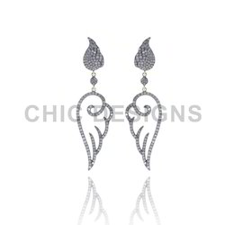 Silver Angel Wings Diamond Earrings
